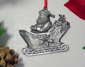 Santa in Sleigh with Golf Clubs Pewter Christmas Ornament