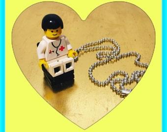 Medical lego man necklace