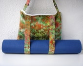 Yoga Mat Bag Green Batik Handmade Babimini