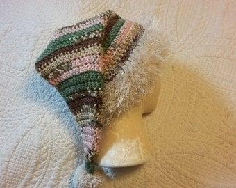 Santa hat, slouchy beanie, womens hat, teen to adult size, easy care, furry yarn, pink Santa hat, camo Santa hat, multicolor Santa hat