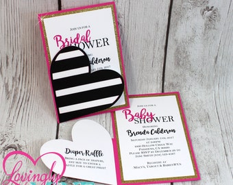 Invitations in Hot Pink, Glitter Gold and Black & White Stripes - Set of 10 - Bridal Shower, Birthday, Baby Shower, Sweet Sixteen