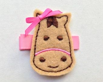 Girls Hair Accessories - Felt Hair Clips - Brown Pink Felt Embroidered Horse Hair Clippie - Hair Clip Hair Clippie - Horse Clip