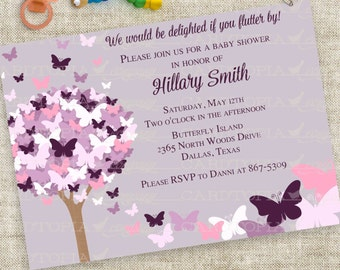 Butterfly Baby Shower Invitation in Pink and Purple Personalized Custom Digital Printable File with Professional Printing Option - Cardtopia