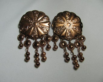 80's XL copper earrings CLIP ONS