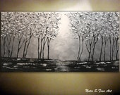 Silver Forest Painting.Landscape Original Painting.Abstract Silver Tree Painting.Palette Knife.Large Artwork.Modern wall Decor by Nata S...