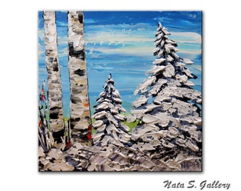 """Original Winter Forest Painting.Abstract Acrylic Painting.Palette Knife.Impasto.Modern  Small Painting  10"""" x 10"""" Gift Idea - by Nata S."""
