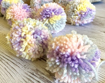 Pom Pom Garland Yarn  Pastel Pink + Grey + Lavender + Creamy Yellow  Birthday Garland  Nursery  Bridal Shower Celebration Decoration