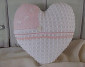 Heart Pillow Valentines Day White Vintage Chenille Heart with Pink Hankie on left side Home Decor Decorative Pillow