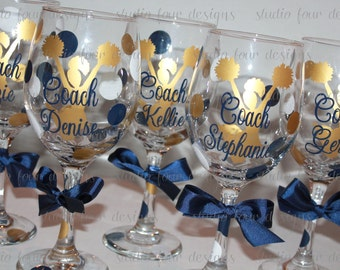 Personalized Cheer Coach Wine Glass - Cheerleading Coach Gift - Cheer Mom Gift - Personalized Coach Gift - Choose your team colors!