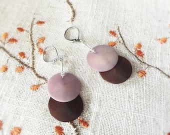 SALE - Tagua Nut Jewelry - Tagua Earrings - Ivory Nut Jewelry - Round Disc Earrings - Surgical Steel