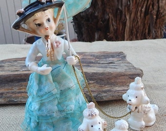 Arnart Southern Belle with Poodles  ~  Original Arnart Creations Japan  ~  Southern Lady and Poodles  ~ Southern Belle Figurine with Poodles