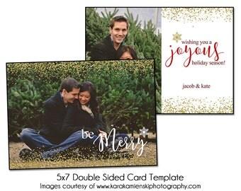 Digital Photsohop Christmas Card Template - SPARKLE MERRY - 5x7 Double Sided Card Template