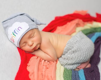 Rainbow baby - coming home outfit - Baby knot hat name- Personalized baby gift- baby photo props and outfits- Newborn Hat- Baby photo prop