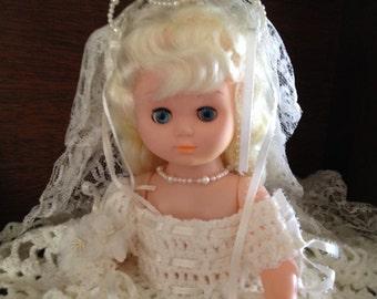 Vintage Old Fashion Wedding Doll Handmade Crochet 1980s 13 Inches Tall