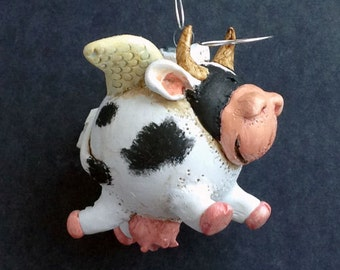 Holy Cow Polymer Clay Christmas Ornament 300
