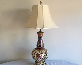 Antique style of Zsolnay but probably made by Fischer Budapest Porcelain electric table lamp.c. 1900