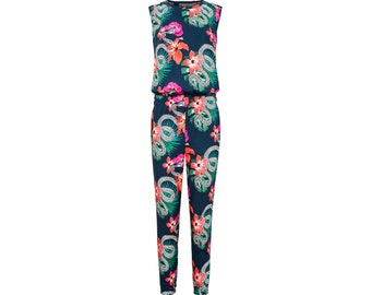 Mid Season SALE !  Printed organic cotton summer jumpsuit with open back