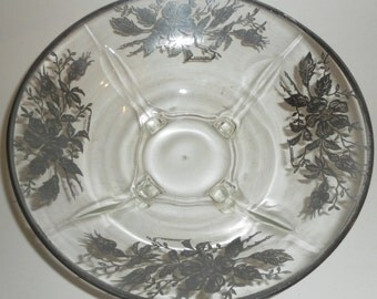 Vintage SILVER OVERLAY on Glass Footed Bowl
