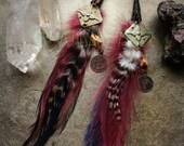 50% OFF Tribal Fusion Feather Should Duster Earrings- Cruelty Free Purple Hackle and Emu