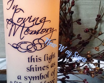LED candle,Pillar candle, Memory candle, In Loving Memory, Flameless candle