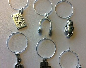 Set of 6 music and audio wine charms - MADE TO ORDER