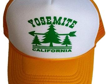 Yosemite California  Snapback Mesh Trucker Hat Cap Gold