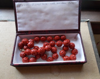 Antique Chinese Cinnabar Carved Beaded Necklace