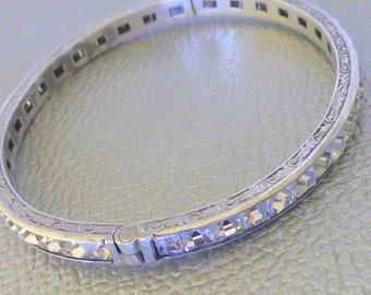 Gorgeous Art Deco Sterling engraved crystal diamond paste stone eternity hinged bangle bracelet