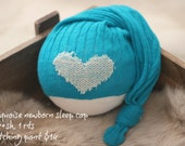 ready to ship, newborn photography prop, upcycled peacock green hat with patch heart, newborn baby boy prop, newborn sleep cap green