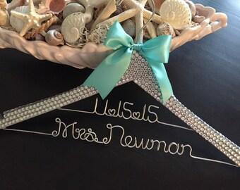 Brides Hanger / Bridal BLING Hanger with Wedding Date / Bling Hanger / Glamorous Wedding Hanger / Custom Hanger / Personalized Name Hanger