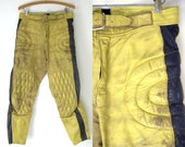 1960s Motorcycle Pants Two Tone Yellow & Black Leather Padded Riding Pants