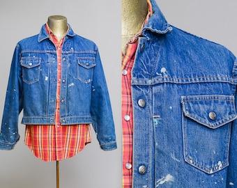 1950s Montgomery Ward 101 Indigo Selvedge Denim Jean Jacket Western Trucker Ranch Hand Denim Jacket