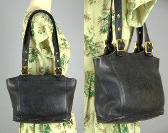Vintage Coach Classic Black Leather with Brass Buckles Shoulder Bag Purse Two Handle Tote B8P 9086