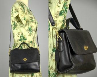 Vintage Coach Crossbody Classic Black Leather Handbag Purse