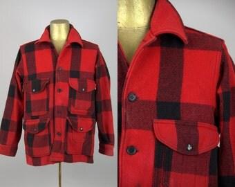 60s Buffalo Check Shadow Plaid Distressed Wool Cruiser Hunting Jacket