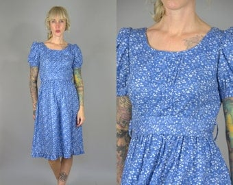 80s Periwinkle Blue Autumn Floral Cotton Country Western Priarie Day Dress