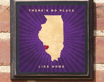 "Illinois IL ""There's No Place Like Home"" Wall Art Sign Plaque Gift Present Personalized Color Custom Location Home Decor Chicago Antique"
