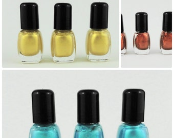 Nail Polish Yellow  Blue Copper Vegan  indie nail polish glitter mineral makeup