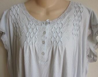 Vintage  nightgown cotton knit Miss Elaine free bust plus size lingerie 3X XXL