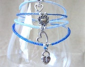 Handcrafted Something Blue Glass Beaded Anklet w/ Silver Heart Charm, Handmade Original Fashion Jewelry, Lovely Romantic Custom Bridal Gift