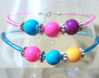 Pink, Turquoise & Purple Glass Gumball Anklet, Glass Bead Anklet, Ankle Bracelet, Seed Bead Anklet, Handmade Beaded Jewelry, Ladies Gift