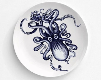 Melamine Plate Blue Octopus Kraken Ship - Octopus Melamine Plate - Dinnerware - Octopus Art Dinnerware - Home Dining Decor - Nautical Decor