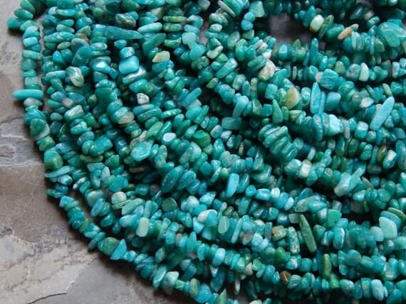 5X8mm Russian Amazonite Gemstone Chip Beads, 35-36 Inch Strand (IND1C16)
