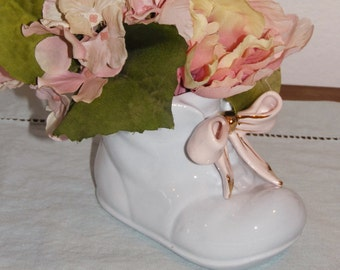 Sweet Napco baby boot planter - bootie - shoe - ceramic - vintage - 50's - baby shower - gift