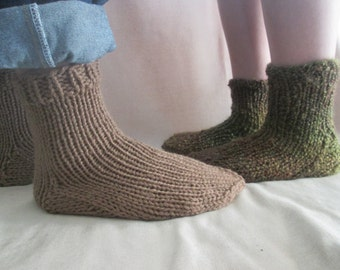 Easy Knitting Pattern For Mens Socks : Mens slipper pattern Etsy