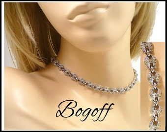 Bogoff Rhinestone Choker, Designer Bridal Necklace, Maid of Honor Choker, Pageant Jewelry, Stage Performance, New Years Eve, Gift For Her