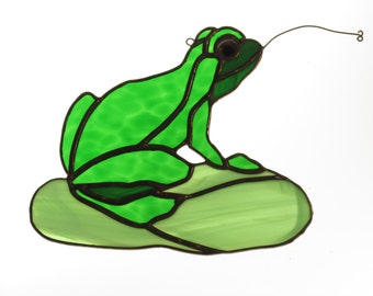 Stained Glass Frog on a Lilly Pad Suncatcher - Price Includes Shipping