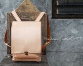 RANDOSERU Japanese style backpack for women/ men/ kids/ made of saddle leather natural beige