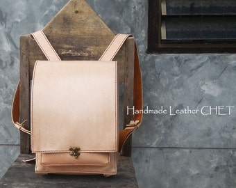 RANDOSERU Japanese style backpack for women/ men/ kids/ made of saddle leather natural beige