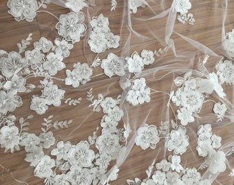 Ivory 3D lace fabric, Luxury hand made beads by 3D Blossoms, French Lace, Embroidered lace, Wedding Lace, Bridal lace, black Lace, Veil lace